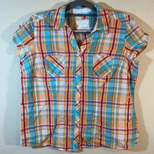 Sonoma Button Up Plaid Shirt Size L Pastel colors